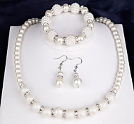 cheap -Women's Imitation Pearl Pearl Jewelry Set 1 Necklace / 1 Pair of Earrings / 1 Bracelet - Fashion Round White Bridal Jewelry Sets For