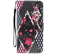 Недорогие -Чехол для Apple iphone 7 7 плюс держатель карты держатель кошелек горный хрусталь с подставкой флип-картины полный корпус цветок твердая