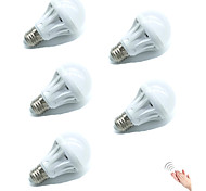 5pcs 5W E27 LED Smart Bulbs 18SMD 2835 Warm/Cool White Sensor Sound-Activated Decorative Light Control AC220-240V