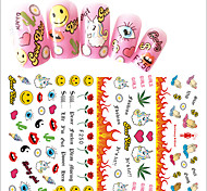 1pcs New Cartoon Pattern Design Nail Art 3D Sticker Lovely Cartoon Expression&Word Design For Manicure Beauty Cute Decoration F250