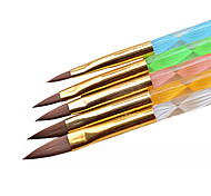 5pc Set Brush UV Gel Polish Decoration Carving Crystal Pen Wood Nail Art Builder Drawing Painting Manicure Tool