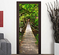 77*200cm Creative 3D Suspension Bridge Wall Stickers DIY Mural Bedroom Vinyl Removable Door Poster Home Decor