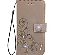 cheap -For iPhone X iPhone 8 Case Cover Wallet Card Holder Rhinestone with Stand Flip Embossed Pattern Magnetic Full Body Case Solid Color Flower