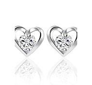 cheap -Fashion Elegant Romantic Flower Heart Crystal Stud Earrings Alloy Silver Gold Color Design Zircon Earrings Wedding Jewelry For Women Bridal Accessorie