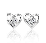 abordables -Mujer Pendientes cortos Cristal Zirconia Cúbica Circular Corazón Moda estilo de Bohemia Personalizado Euramerican Estilo Simple Británico