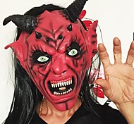 cheap -Devil Inferno Satan Mask Horror Halloween Novelty Red Face Adult Size Party Head Long Hair Mask For Women Men