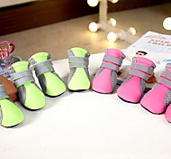 cheap -Dog Boots / Shoes Casual/Daily Cosplay Keep Warm Snow Boots Sports Solid Green Pink For Pets
