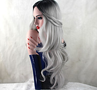 cheap -Synthetic Wig Body Wave Heat Resistant Natural Hairline Dark Roots Gray Women's Capless Natural Wigs Long Synthetic Hair