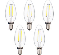 cheap -5 pcs BRELONG Dimmable 2W E14 2COB LED Filament Bulbs White / Warm White AC220-240V