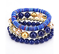cheap -Women's Bohemian Multi Layer Strand Bracelet - Bohemian Natural Multi Layer Balance of the Power Fashion Round White Black Dark Blue