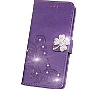 cheap -Case For Asus ZenFone Max ZC550KL Asus Zenfone 2 Laser ZE550KL Asus Asus Zenfone 5 Card Holder Wallet Rhinestone with Stand Flip Magnetic