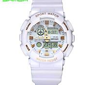 baratos -SANDA Homens Relógio Esportivo Relógio de Pulso Japanês Quartzo Digital Impermeável Dois Fusos Horários alarme Borracha Banda Preta Branco