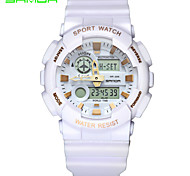 SANDA Men's Sport Watch Wrist watch Japanese Quartz Digital Water Resistant / Water Proof Dual Time Zones Alarm Rubber Band Black White