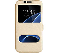 cheap -For Samsung Galaxy J7 (2016) J7 (2017) Case Cover With Windows Full Body Case Solid Color Hard PU Leather For Samsung Galaxy J7 J5 (2016) J5 (2017) J5