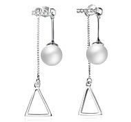 Women's Drop Earrings Imitation Pearl AAA Cubic ZirconiaBasic Circular Unique Design Dangling Style Rhinestone Natural Geometric