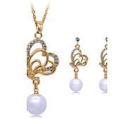 Women's Pendant Necklaces Crystal Imitation Pearl Circular Dangling Style Geometric Vintage Adjustable Classic Costume Jewelry Silver