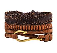 Men's Women's Strand Bracelet Leather Bracelet Jewelry Fashion Personalized Hip-Hop Handmade DIY Leather Wood Alloy Jewelry Jewelry For