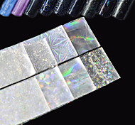 8pcs/Set 20*4cm Transparent Laser Nail Art Transfer Foil Stickers Glitter Broken Glass Starry Decal White Shining  DIY Nail Tips Starlight Decorations