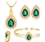 cheap -Women's Zircon / Rose Gold Plated Ball Jewelry Set - Fashion White / Red / Green Bangles / Stud Earrings / Necklace For Wedding / Party /