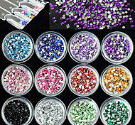 12Bottles/Set Nail Art DIY Decoration Fashion Crystal Rhinestone Colorful Sweet Design 3D Glitter Shining Rhinestone Manicure Beauty Jewelry Accessory