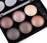 cheap -Alpha Pro 6 Color Natural Glitter Silky Shimmer Naked Eye Shadow Plate Nude Eyeshadow Powder Smoky Eyes Makeup Cosmetic Palette & Brush Set