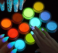1g/Bottle Fashion Candy Colors Fluorescent Pigment Luminous Nail Art DIY Glitter Powder Glow In The Dark Sparkling 3D Beauty Powder Decoration YS1-12