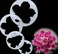 New Arrival Sugarcraft 4Pcs Peony Flower Petal Cake Cutters Sets Peony Fondant Cutter Mould Large Peony Cutter Set Mold