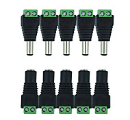 cheap -HKV® 10Pcs 5 Female 5 Male DC Connector 2.1*5.5mm Power Jack Adapter Plug Cable Connector For Single Color Led Tape
