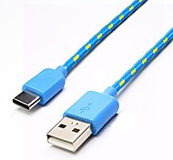 2M 6.5Ft Strong Fabric Braided USB-C USB 3.1 Type C Sync Data Charger Cable for Macbook/Nexus 6P/5X Oneplus 2/xiaomi 4s/Letv