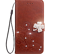 Case For Motorola Moto G5 G5 Plus Case Card Holder Wallet Rhinestone with Stand Flip Embossed Full Body Case Flower Hard PU Leather for G4/G4 Plus