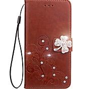 Недорогие -Кейс для Назначение Motorola Бумажник для карт Кошелек Стразы со стендом Флип Рельефный Чехол Цветы Твердый Кожа PU для Мото G5 Plus Moto