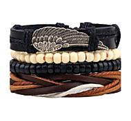 Men's Leather Bracelet Strand Bracelet Wrap Bracelet Handmade Fashion Vintage Adjustable Personalized Leather Alloy Circle Wings / Feather