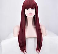 Недорогие -жен. Парики из искусственных волос Без шапочки-основы Длиный Прямые Красный Парик из натуральных волос Карнавальные парики
