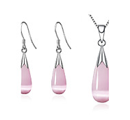 cheap -Women's Synthetic Opal Silver Plated Drop Jewelry Set - Fashion White / Pink Drop Earrings / Necklace For Wedding / Party / Daily