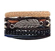 Men's Women's Leather Bracelet Strand Bracelet Wrap Bracelet Handmade Vintage Adjustable Personalized DIY Leather Alloy Round Feather
