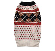 Cat Dog Coat Sweater Dog Clothes Party Casual/Daily Cosplay Keep Warm Wedding Halloween Christmas New Year's Plaid/Check Beige