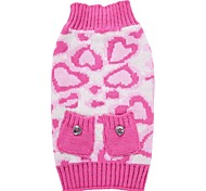 Cat Dog Coat Sweater Dog Clothes Party Casual/Daily Cosplay Keep Warm Wedding Christmas New Year's Leopard Blushing Pink