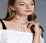 Women's Choker Necklaces Chain Necklaces Rhinestone Leaf Line Rhinestone Alloy Tassels Fashion Personalized Multi-ways Wear Multi Layer