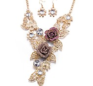 Women's Drop Earrings Necklace Rhinestone Fashion Party Daily Casual Office & Career Alloy Flower