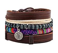 cheap -Men's Leather Leather Bracelet Wrap Bracelet Strand Bracelet - Personalized Adjustable Round Brown Bracelet For Christmas Gift Stage