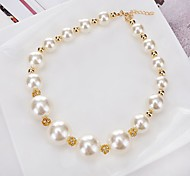 cheap -Women's Round Circle Personalized Circular Unique Design Classic Choker Necklace Pendant Necklace Chain Necklace Imitation Pearl