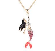 Fashion Pretty Rhinestone Mermaid Pendant Long Chain Necklace