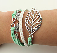 Men's Women's Wrap Bracelet Leather Bracelet Jewelry Fashion Vintage Bohemian Punk Handmade Leather Alloy Leaf Owl Jewelry For Wedding
