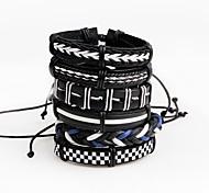 Недорогие -Муж. Wrap Браслеты Кожаные браслеты По заказу покупателя Multi-Wear способы Кожа В форме линии Бижутерия Назначение Для сцены Для клуба