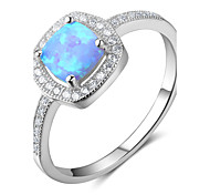 Women's Band Rings Synthetic Opal Classic Sterling Silver Geometric Jewelry For Wedding Gift