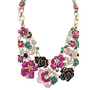 Women's Statement Necklaces Rhinestone Flower Alloy Flower Style Flowers Cute Style Floral Jewelry For Party Birthday