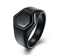 baratos -Homens Mulheres Anéis Grossos Jóias Moda Estilo Punk Aço Titânio Quadrado Jóias Para Casual