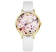 Жен. Нарядные часы Модные часы Наручные часы Китайский Кварцевый PU Группа Цветы С подвесками Повседневная Элегантные часы Черный Белый