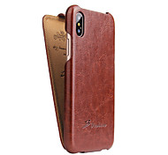 For iPhone X Case Cover Flip Full Body Case Solid Color Hard PU Leather for Apple iPhone X