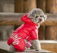 Собака Плащи Толстовки Комбинезоны Пуховики Одежда для собак На каждый день Сохраняет тепло Спорт Однотонный Оранжевый Желтый Красный